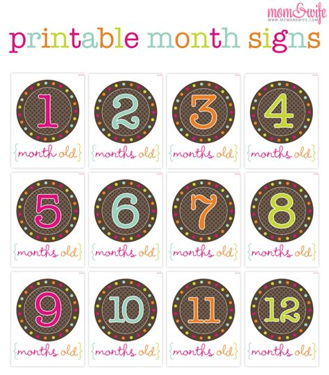 printable number stickers free baby projects free printable month signs for photo