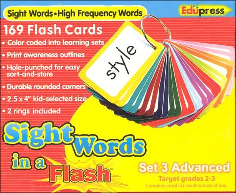 sight words flash 1411434927 sight words in a flash flashcards set 3 026443 details rainbow resource center inc