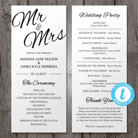 Hochzeit Programm by Printable Wedding Program Template Mr Mrs Instant