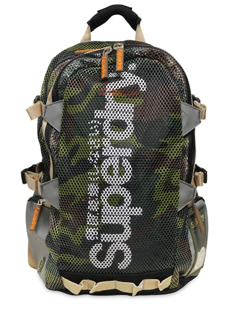 Camouflage Backpack lyst superdry camouflage mesh tarp backpack in green for