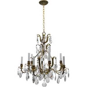 Antique Brass Chandelier With Crystals Vintage Swedish Chandelier Brass 10 Lights