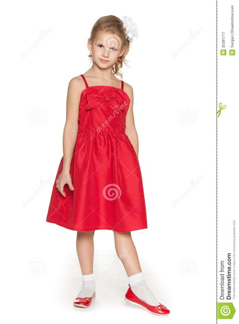 fashion young girl  red dress royalty  stock
