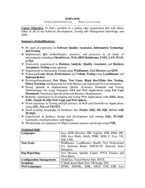 software quality assurance resume sle professional quality analyst templates to showcase