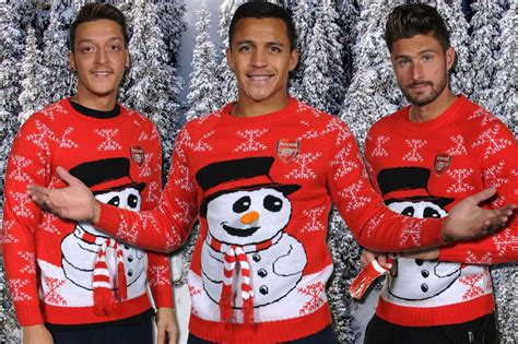 arsenal xmas jumper arsenal stars including mesut ozil and alexis sanchez get
