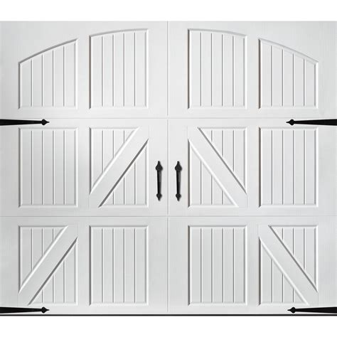 shop pella carriage house 9 ft x 7 ft white garage door at lowes