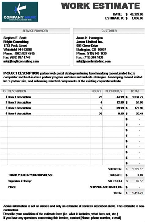 work estimate invoice calculates total microsoft excel