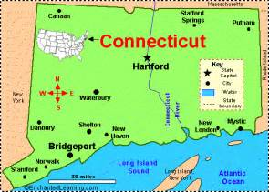 connecticut facts map and state symbols