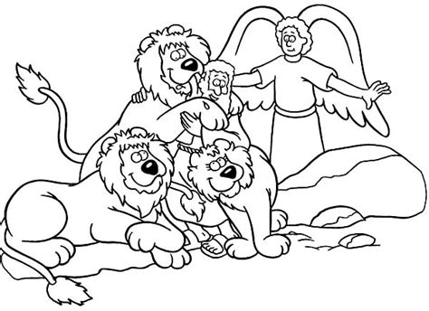 coloring page daniel in lions den daniel saved from an angel in daniel and the lions den