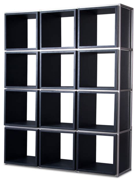 grid i black shelving unit modern display and wall shelves