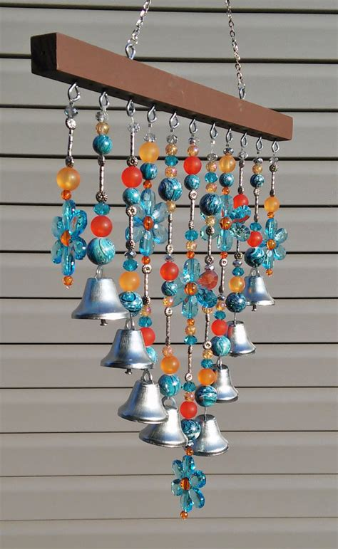 beaded wind chimes beaded wind chime sun catcher blue daisies and bells