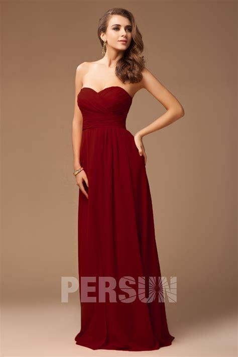 Robe Longue Bordeaux Demoiselle D Honneur - robe demoiselle d honneur longue bustier coeur avec