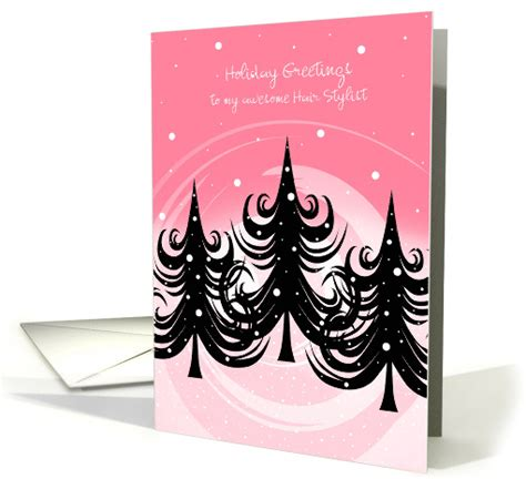 christmas greeting hair stylists hair stylist winter trees on pink card 880842