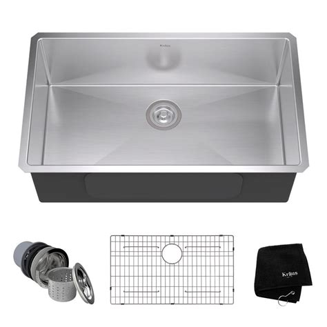 19x33 Kitchen Sink Kraus Undermount Stainless Steel 32 In Single Bowl Kitchen Sink Kit Khu100 32 The Home Depot