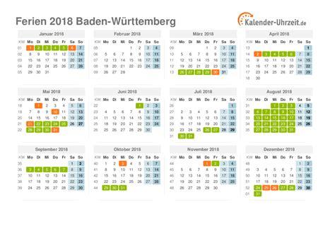 Ferien Kalender 2018 Ferien Baden W 252 Rttemberg 2018 Ferienkalender Zum Ausdrucken