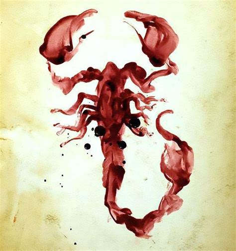 bloody watercolor scorpion tattoo design