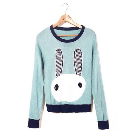 Sweety Rabbit Sweater White Sweater Wanita Sweater Rabbit knitted sweaters
