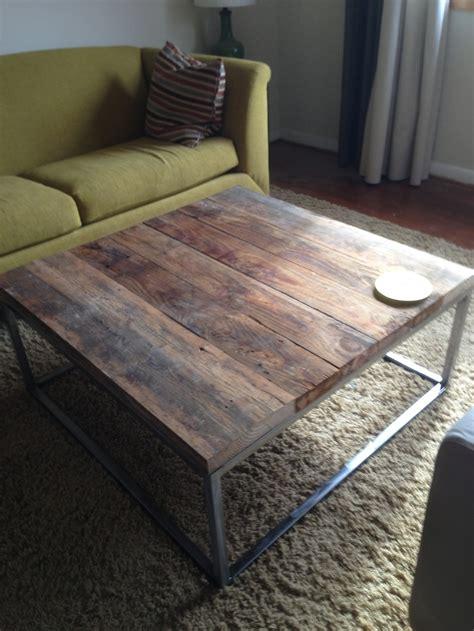 diy reclaimed oak welded steel coffee table for the