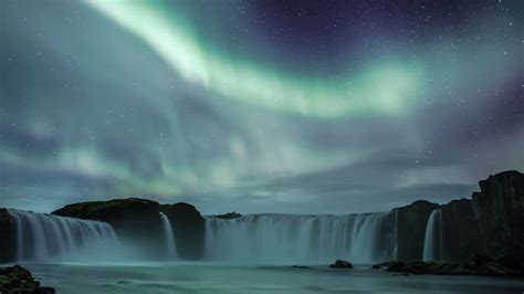 nature aurora iceland waterfalls wallpaper allwallpaper