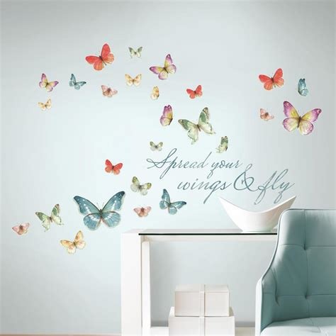 peel and stick wall decor roommates 5 in x 11 5 in lisa audit butterfly quote 28