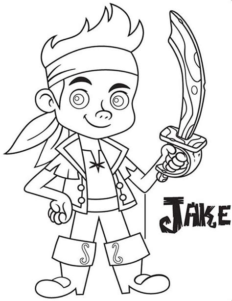 Jake And The Neverland Coloring Pages Printable jake and the neverland drawing az coloring pages