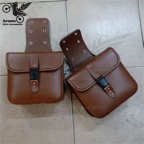 leather motorcycle accessories pu leather motorcycle saddle bags bag brown black