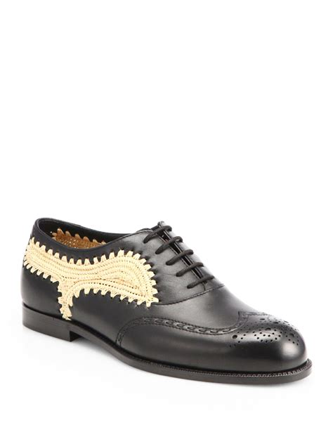 beige oxford shoes bottega veneta raffia leather laceup oxford shoes in black