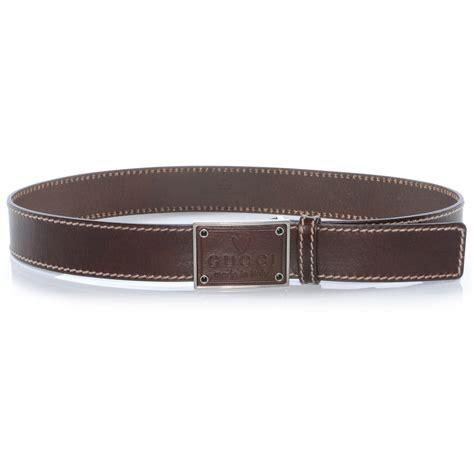 gucci mens leather crest buckle belt 90 36 brown 40443