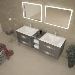 Plug In Vanity Lights Sonix 1500 Wall Hung Double Basin Vanity Unit Grey Buy