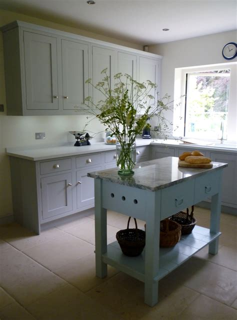 Kitchen Island Lewis Framed Shaker Kitchen With A Freestanding Marble Topped