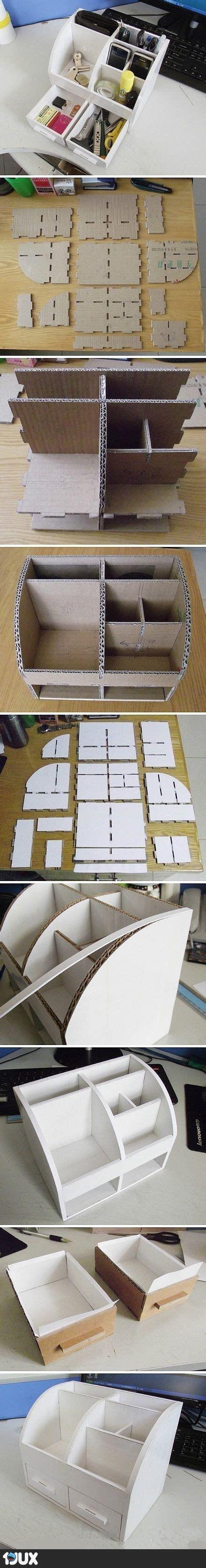 handwerk schrank organisation ideen tisch organizer aus pappe desk organizer diy