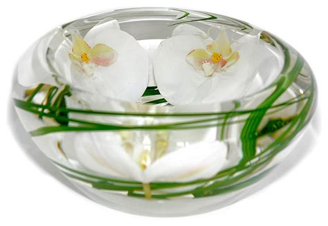 Glass Flower Bowl Glass Flower Bowl White Phalaenopsis Small