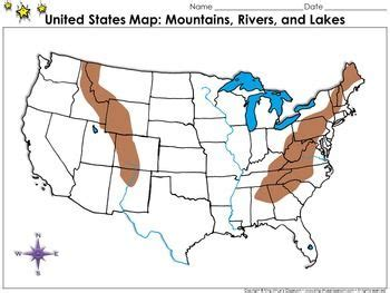 map of the united states rocky mountains united states mountains rivers and lakes map blank