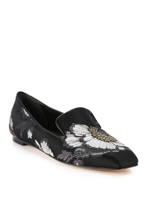 mcqueen loafers mcqueen floral jacquard loafers in gray lyst