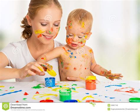 painting for babies and baby paint colors stock photo