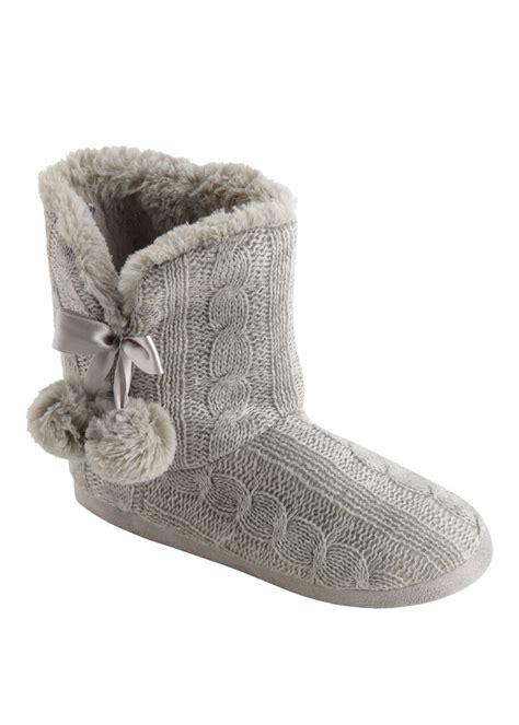 matalan slipper socks matalan cable knitted pom pom slipper boots