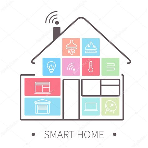 smart home outline icon stock vector 169 tohey22 68076377