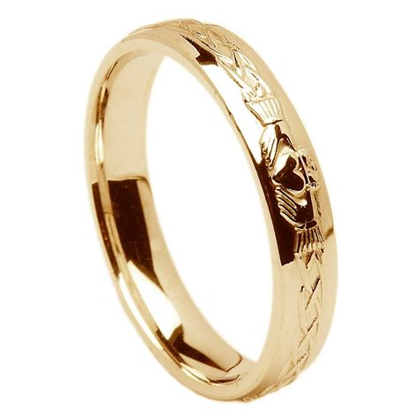 18k yellow gold claddagh celtic wedding ring 4 5mm