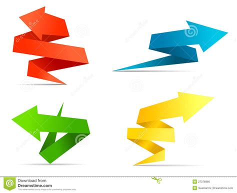 How To Make A Origami Arrow - origami arrow banners and labels stock vector image