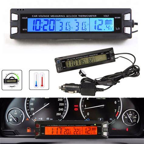12v Car Mobil Jam Clock Thermometer Temperature Voltage Monitor universal 12v 24v orange backlight car digital lcd