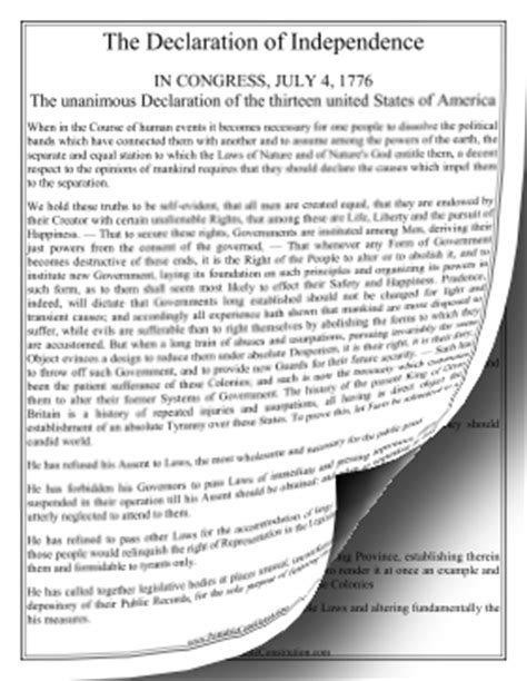 printable version of declaration of independence declaration of independence large print founding document