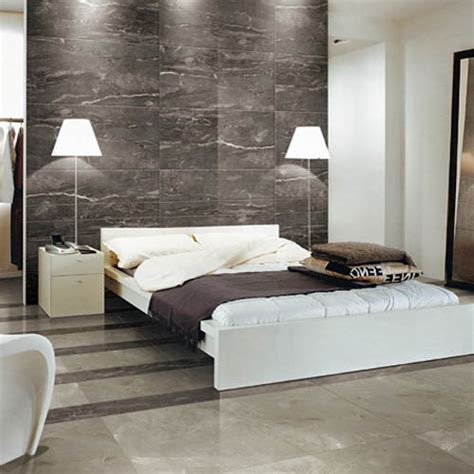 wall tiles for bedroom this modern bedroom features silk silver marble effect