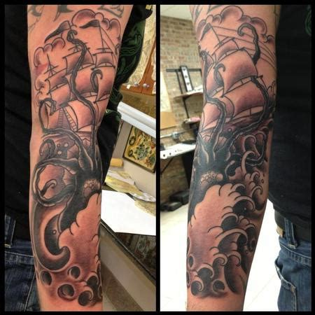 deluxe tattoo tattoos nature animal octopus ship and