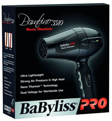 Babyliss Pro Hair Dryer Dual Voltage babyliss pro nano titanium bambino compact dual voltage travel hair dryer babnt5510 image