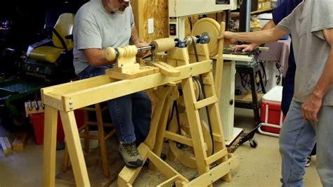 wood treadle lathe  youtube