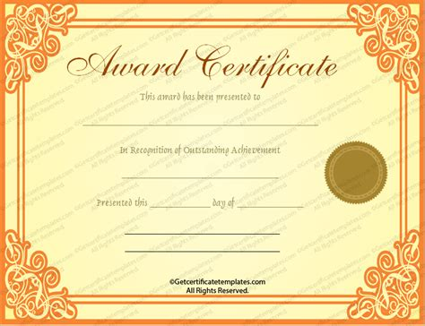 template for award certificates award certificate template cyberuse