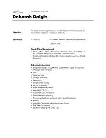 orthodontic assistant resume sle sle dental assistant resume