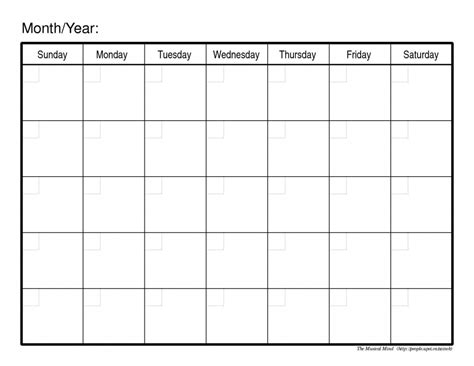 blank calendar to fill in calendar template