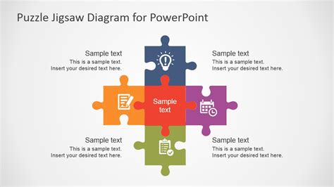 Free Flat Puzzle Jigsaw Powerpoint Diagram Slidemodel Powerpoint Template Puzzle Pieces Free