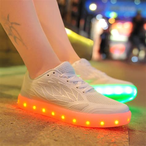 womens light up shoes womens led shoes with light up soles kpu white sale online