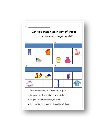 printable birthday cards ks1 french clothes worksheet primary printable resources ks1